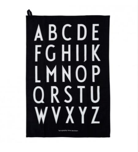 Wohngoldstueck_Geschirrtuch Design Letters Schwarz Set
