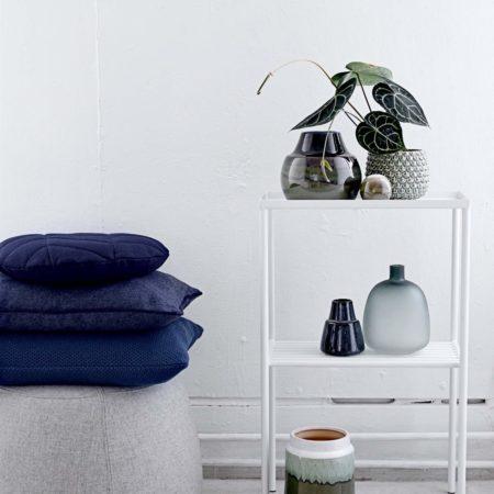 Wohngoldstück_Bloomingville Übertopf Grün + Vase Blau