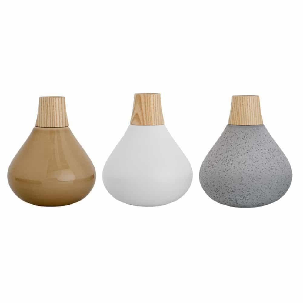 vase mit holz grau wei oder beige von bloomingville. Black Bedroom Furniture Sets. Home Design Ideas