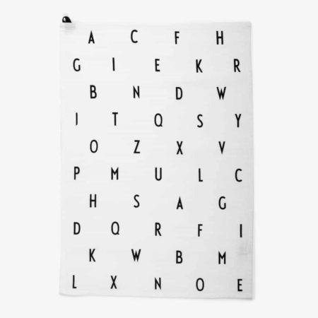 Wohngoldstück_Design Letters Geschirrtuch Weiß Vintage ABC