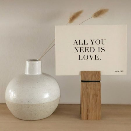 Wohngoldstueck_Postkarte Papier Ahoi All you need is love and Gin