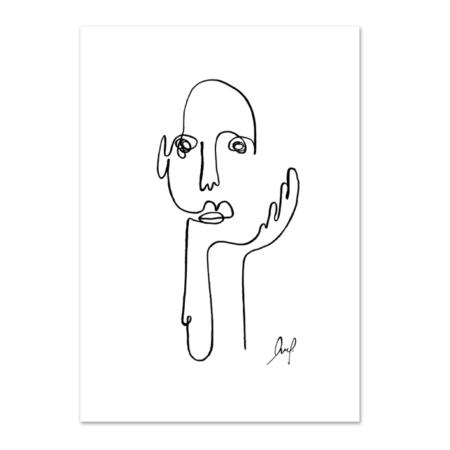 Wohngoldstueck_Kunstdruck Leo la Douce Art Line The Thinker
