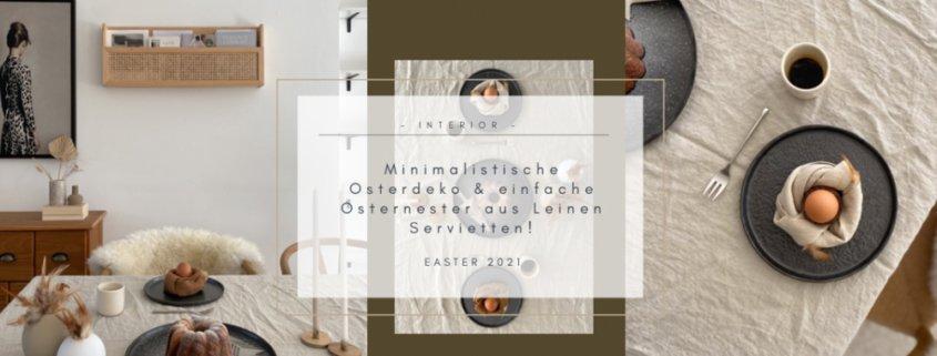 Wohngoldstueck_Minimalistische Osterdeko Osternest Leinenservietten